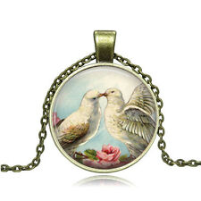 Vintage Cartoon Bird lovers Cabochon Bronze Glass Chain Pendant Necklace #Y199