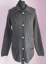 VTG Ladies WOOD&GRAY Brown Mohair Mix Longsleeved Cardigan Size Small