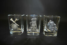 3 - Square Shot Glasses with Pewter Golf Emblems Golf Bag Golf Shoes Ball & Tees