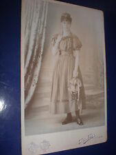 Old Cabinet photograph dancer woman tambourine by Terry & Fryer Worcester c1890s