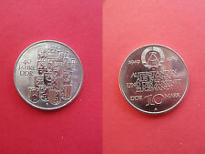 GDR 10 Mark Commemorative coin 1989 40 Years Nickel silver unc. Export quality