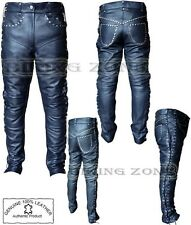 WOMENS BLACK LACE AND STUDS STYLE LADIES FASHION HIGH QUALITY LEATHER TROUSERS