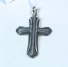 New David Yurman Men's Armory Cross Pendant Enhancer 50mm Sterling Silver $365