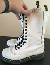 Doc Martens White Smooth Leather Boots 14 Eyelets Womens US 8 UK 6 Doctor RARE!