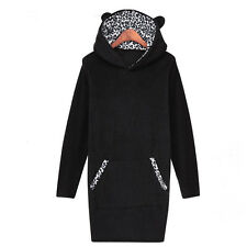Womens Leopard Long Sleeve Hoodie Jacket Coat Tops Hooded Outwear Pullover 6-14