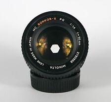MINOLTA MC ROKKOR-X PG 50mm f1.4 LENS. SERVICED WITH WARRANTY. MADE IN JAPAN.