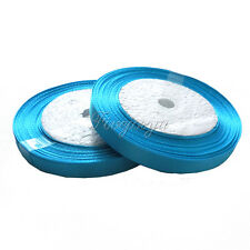 "1 Roll 25 Yards 1/4"" 6mm  Turquoise Satin Ribbon Craft  Wedding Party Hair Bows"