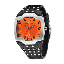 Police brand Beast Mens Mechanical Watches with Orange Dial Analogue Display