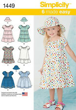 SEWING PATTERN!  MAKE TODDLER GIRL PULLOVER DRESS~HAT! SIZE 1/2~2 SUMMER CLOTHES