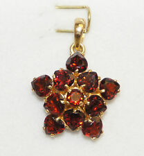14k Solid Gold Star Flower Pendant with Natural Garnet, January Birth Stone.