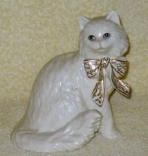 """Lenox Porcelain Cat Figurine """"Sitting Pretty"""" Collectible with gold bow"""