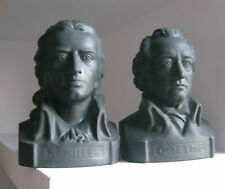 "۞  2 - 8x6""  Busts  of Schiller and Goethe numbered   German writer bust  statue"