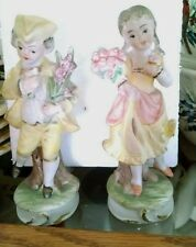 """Pair of Gorgeous Brinns  Bisque Girl and Boy  Figurines 5 1/2"""" made in Japan"""