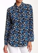 NWT EQUIPMENT SzM SLIM SIGNATURE SILK SHIRT INK MULTI NIGHT STAR FLAIR PRINT$258