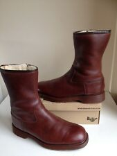 Rare! Sz7 Vtg England Dr. Martens Brown Leather/ Fur Lined Mid Calf Boots Eu41