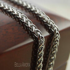 "Mens Stainless Steel Silver Wheat Braid Link Chain Necklace 22"" Long -New UK 196"