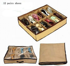 12 pairs Shoes Folding Closet Organizer Under Bed Storage Holder Box Container