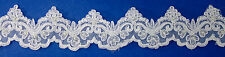 "3¼"" White Lace Trim Bridal Beaded Sequins Faux Pearls Embroidered 13 Yards"