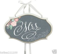 New wedding vintage floral chalk design Mrs hanging chair decoration sign