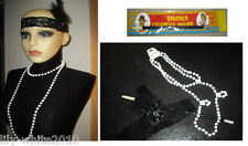 1920s Black Charleston Feather Headband - Flapper - Pearl Necklace - Fag Holder