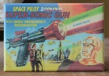 3 Colour Super-Sonic Gun - Fridge / Locker Magnet. Vintage Toy Ray Gun