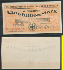 Frankfurt 1 Billion Mark 10000  Milliarden  1923 Notgeld Reichsbanknote Hessen