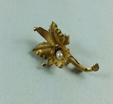 18k Gold Orchid Brooch with Pearl