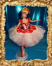 Ballerina Barbie OOAK Ruby Red Handmade Gown, hair restyle, w/o repaint by Olia
