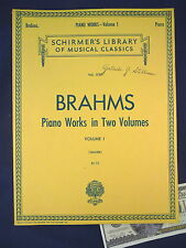 Brahms Sheet Music Book Piano Works Volume 1 Schirmer Library 1757