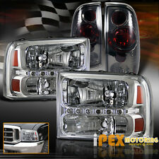 1999-2004 Ford F250 Super-Duty Facelift LED Chrome Headlights + Smoke Tail Light