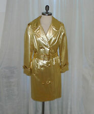 Awesome Vintage Travel Coats By Naman Metallic Gold 3/4 Trench Coat w Belt