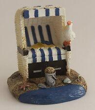 Deko Strandkorb blau/weiß 6,5 cm Ostsee Nordsee Geschenk Strand Korb Sand Möwe
