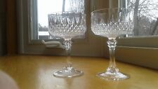 2 Cristal D'Arques Crystal Longchamp Diamond Cut Wine Champagne Goblets 6 oz