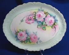 HAND-PAINTED JPL LIMOGES CABBAGE PINK ROSES TRAY