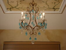 AMAZING OLD TURQUOISE CRYSTAL BEADED MACARONI ITALIAN EMPIRE CHANDELIER