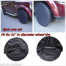 """4P Car Wheel Tire Tyre Covers Diameter To ≤31"""" Tyre Black For SUV Pickup Trailer"""
