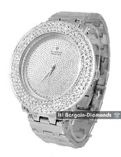 "mens .12 carat diamond silver watch 2 bezel deluxe set 8.5"" bracelet master maxx"