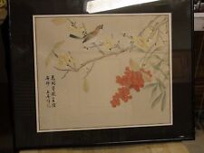 Japanese Chinese Silk Painting Bird Red Berries Tree Blossoms Framed Signed