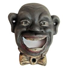 Vintage BLACK CAST IRON WALL MOUNT antique bar beer BOTTLE OPENER SMILING MAN