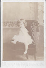 1890s CABINET CARD PHOTO CHARMING BARE FOOT TODDLER ON CHAIR