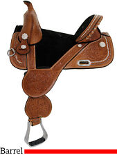 """Circle Y Tammy Fischer Treeless Barrel Saddle 14"""" REGULAR OIL WITH BLACK SEAT"""