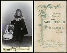 ANTIQUE CDV PHOTO CHARMING GIRL 2 DOLLS IN TOY PRAM BRANDENBURG, GERMANY STUDIO