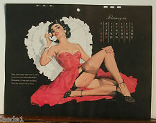 E. Chiriaka Calendar Page February 1954 Telephone Girl Pink Dress Black Garter
