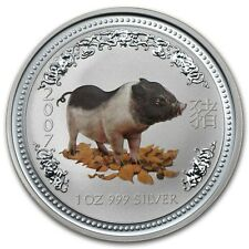 RARE ! ~ 2007 ~.999 SILVER ~1~OZ ~ YEAR of the PIG ~ PERTH MINT ~CAPSULE~ $88.88