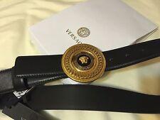Authentic Versace Mens GOLD Medallion Vitello Black leather belt 95cm fits 32-34