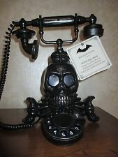 NWT Victorian Skull Telephone Rotary Spooky Talking Halloween Light Up Red Eyes!