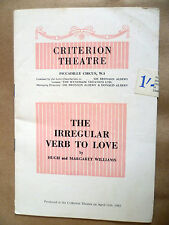 CRITERION THEATRE PROGRAMME 1961-THE IRREGULAR VERB TO LOVE by Hugh & M Williams
