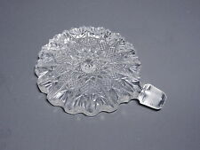 """EAPG Perfume Stopper Only Large Flat Cane & Button Clear Smooth Side 4 1/2"""" T"""