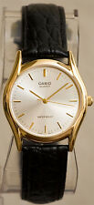 Casio Men's MTP1094Q-7A Analog Watch Leather Band Black Silver and Gold Face New