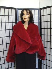 MINT FAUX FAKE IMITATION OF FUR IN RED JACKET COAT WOMEN WOMAN SIZE 8-10 MEDIUM